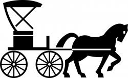 Horse-drawn Carriage clipart black and white