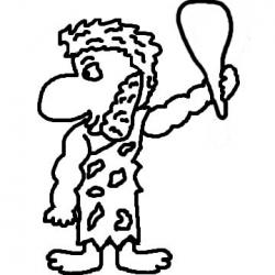 Caveman clipart black and white