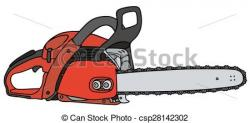 Chainsaw clipart red