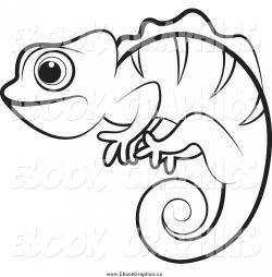 Chameleon clipart black and white