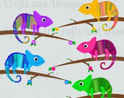 Cameleon clipart colorful