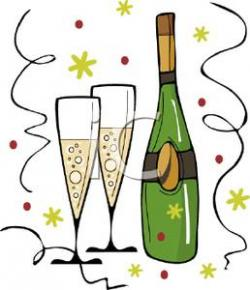 New Year clipart champagne bottle glass