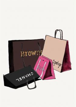 Drawn purse shopping bag