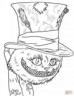 Cheshire Cat clipart coloring page