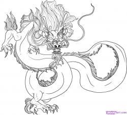 Drawn chinese dragon oriental dragon