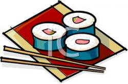 Chopsticks clipart sushi roll
