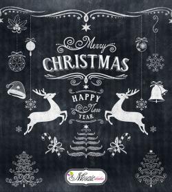 Merry Christmas clipart chalkboard