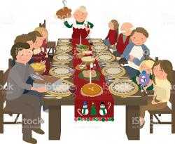 Roast clipart christmas dinner table