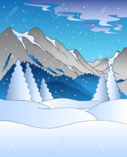 Drawn landscape snowy mountain
