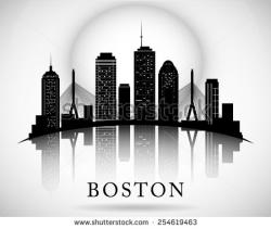 Boston clipart Boston Skyline Silhouette With Bridge