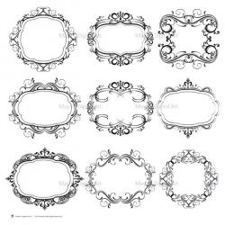 Damask clipart oval
