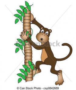 Chimpanzee clipart climbing tree