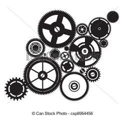 Clockwork clipart black and white