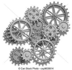 Drawn gears clockwork