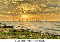 Coastline clipart beach sunset