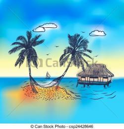 Hammock clipart caribbean island
