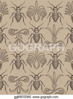 Cockroach clipart pattern