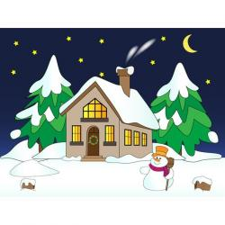 Lodge clipart winter scenery