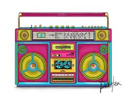 Colouful clipart boombox