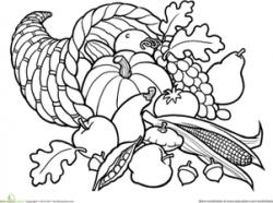 Cornucopia clipart coloring page