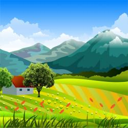 Feilds clipart mountain landscape