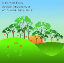 Countryside clipart grassy hill