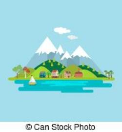 Countryside clipart lake background