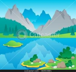 Countryside clipart mountain scenery