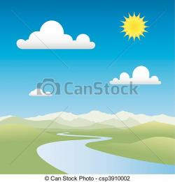 Countryside clipart river landscape