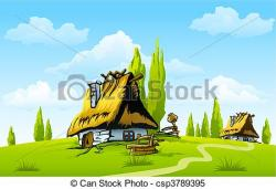 Countyside clipart village house