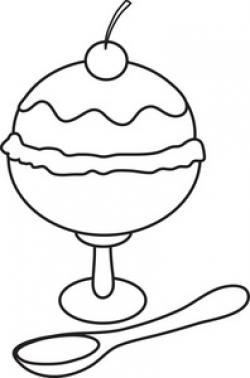 Sundae clipart black and white