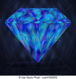 Crystals clipart blue diamond