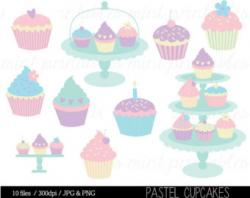 Cupcake clipart pastel
