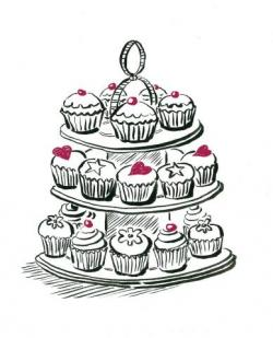 Drawn cupcake cupcake stand