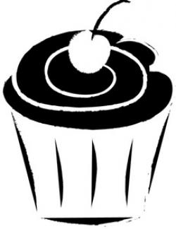 Vanilla Cupcake clipart black and white