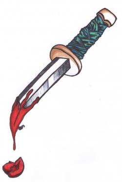 Drawn dagger bloody dagger