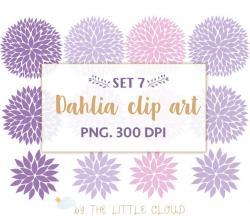 Dahlia clipart purple floral