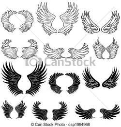 Drawn shield angel wing