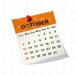 Date clipart october calendar
