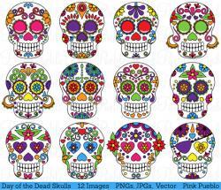 Ssckull clipart dia de los muertos skull