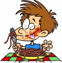 Spaghetti clipart boy eating