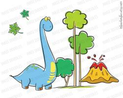 Brachiosaurus clipart cute