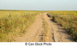 Drawn countyside dirt road