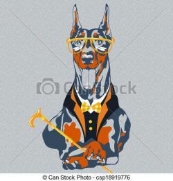 Doberman Pinscher clipart many dog