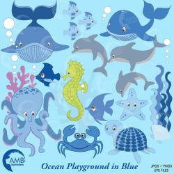 Dolphins clipart blue starfish