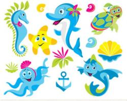 Dolphins clipart seahorse