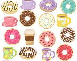 Brownie clipart donut coffee