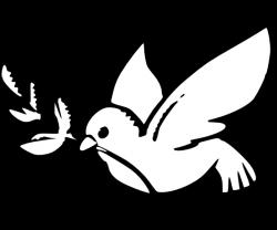 Peace Dove clipart black and white
