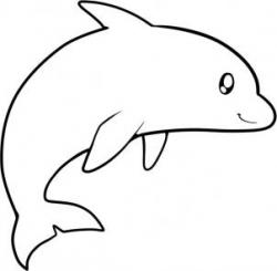 Dolphins clipart line drawing