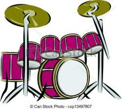 Colorful clipart drum set